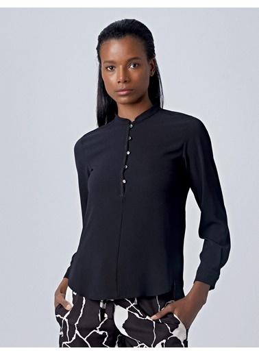 Huxel WLB003193 Dantel Şeritli Bluz Siyah